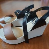 White Wedges with Black and Brown Straps
