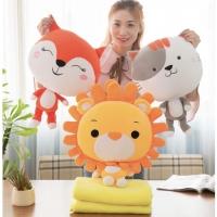 Boneka Bantal Selimut Animal Lucu , Balmut Singa , Rubah , Kucing