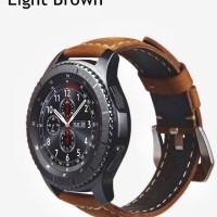 Samsung Gear S3 Frontier/Classic strap, Leather Watchband Light Brown