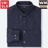 UNIQLO Men Shirt Kemeja Denim Pria Lengan Panjang Navy Blue