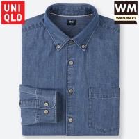 UNIQLO Men Shirt Kemeja Denim Lengan Panjang Pria Blue