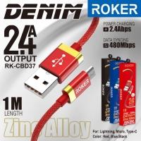 Kabel Charger Type C ROKER DENIM 2.4A Kabel Data Tipe C FAST CHARGING
