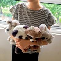 Boneka Binatang Soft floppy Animal doll panda koala fox terrier racoon