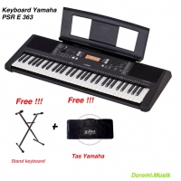 Keyboard Yamaha PSR E 363 Original + Stand + Tas