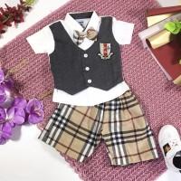 Setelan vest formal anak bayi cowok 3 - 24 bulan dasi rompi lucu murah