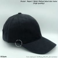 Topi baseball Polos Hitam bahan rafael/rapael/rafel tebal high quality