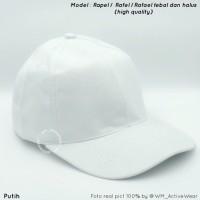 Topi baseball Polos Putih bahan rafael/rafel/rapel high quality