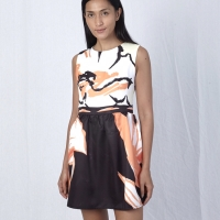 Brown abstract mini dress