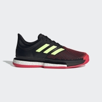 Adidas Men SoleCourt Boost Tennis Shoes Black Shock Red Original