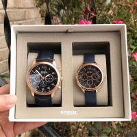 Fossil Watches couple strap leather navy new with tag