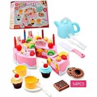 Mainan Kue Potong DIY Birthday Cake Fruit Cake Pink Besar Ulang Tahun