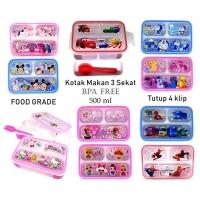 Kotak Makan 3 Sekat Lunchbox Anak Karakter BPA F