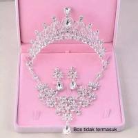 perhiasan set mahkota kalung aksesoris pengantin