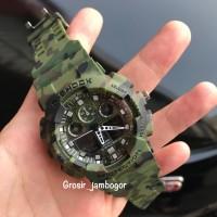 JAM TANGAN CASUAL PRIA WANITA G SHOCK GA100 LORENG HIJAU ARMY DUALTIME