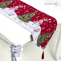 Taplak Meja Natal - Table Runner Christmas Tree Snowman 35x175cm
