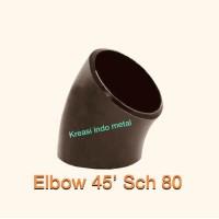 "Elbow / knee Las 1"" ( 1 inch ) ; Sch 80 ( 45 derajat ) CS ; Besi"