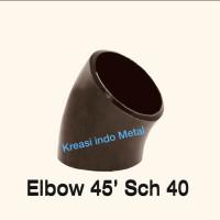 Elbow / knee Las 1 1/4 inch ( 11/4 ) ; Sch 40 ( 45 derajat ) Besi