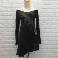 180 Mini dress sabrina hitam sexy dress H&M dress party bludru sabrina