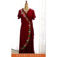 Garden roses embroidery wrap dress