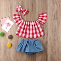 Setelan jumper bayi import tartan / baby romper motif kotak merah