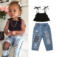 Setelan jeans bayi anak import / ripped denim baby kids lucu