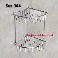 Sus 304 Rak tempat 2 susun sabun kawat sudut stainless steel shampo