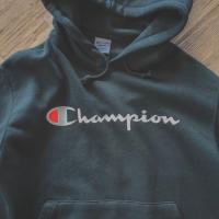 Champion Big Logo Script Pullover Hoodie Black