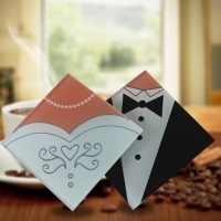 SOUVENIR TATAKAN GELAS BRIDE GROOM WEDDING COASTER GLASS