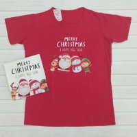 kaos anak merah motif natal
