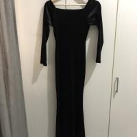 Dress sabrina/black dress/long dress/dress hitam/gaun pesta