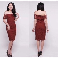 Baju sabrina brokat/baju brokat/maroon dress/black dress/white dress