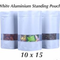 White matte standing pouch window 10x15 aluminium Plastik ziplock bag