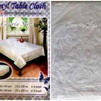 Taplak Meja Makan Plastik Segi 6-8 Kursi Putih - Size 152x228cm