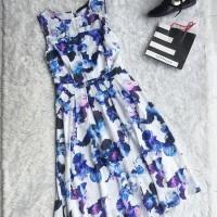 Dress panjang Biru Bunga