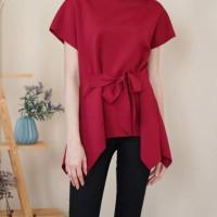 Ladies top woman kaos blouse cewe murah import natal merah imlek bow
