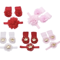 Kaos kaki bandana set bunga bayi baby girl socks headband set floral