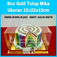 Box Gold 22x22x15cm box cake tatak gold dan tutup mika