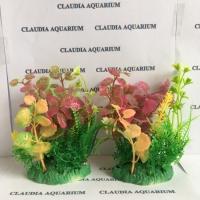 Tanaman Bunga Hias Plastik Aquarium Aquascape Import Aksesoris M464