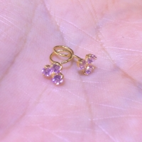 Anting Toge Bayi Anak Mata Pink 3 Emas Kuning 700 Earring