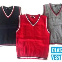 Grosir 4-8 (3th-7th) Atasan Rompi sweater rajut salur anak unisex R2
