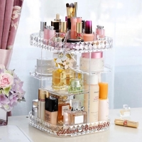 Rak Organizer Acrylic Make up / Rotating Storage Square