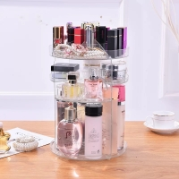 Rak organizer acrylic make up/tempat kosmetik putar 360 polos