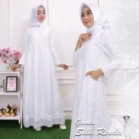 Baju Gamis Wanita Silk Renda Kerancang Bahan Katun Size M s/d XXL