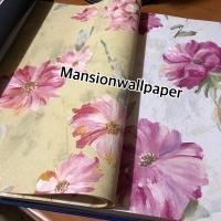 Wallpaper Dinding Bunga Tosca Pink Ungu Biru Lukisan Cat Tekstur Elega