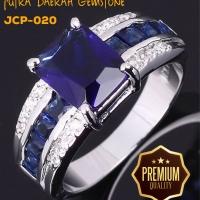 Cincin Pria Blue Sapphire Zircon White Gold JCP-020