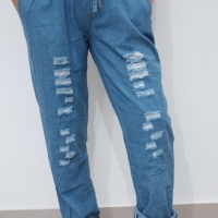 Celana jeans baggy ripped pinggang karet warna biru