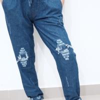 Celana Jeans Wanita Baggy Ripped Motif Kembang