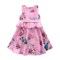 Baju dress ruffle anak perempuan cewe import cute Frozen Printed Pink
