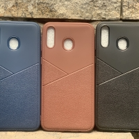 Leather Skin Texture Case Back Cover Samsung Galaxy M20, M 20 Casing