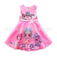 Baju Dress Anak Cewe import Cute bow LoL Surprise Printed Pink